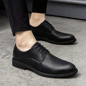 秋季商务休闲皮鞋男英伦圆头韩版真皮正装系带黑色青年内增高男鞋