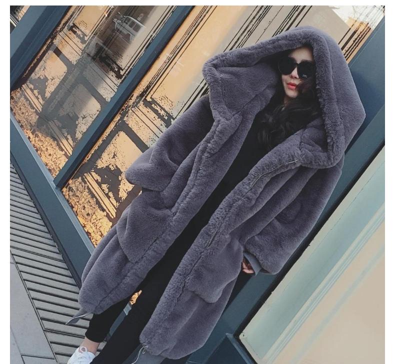 2018秋冬季新款Gigi同款仿皮草毛加厚长款连帽毛毛大衣外套獭兔女