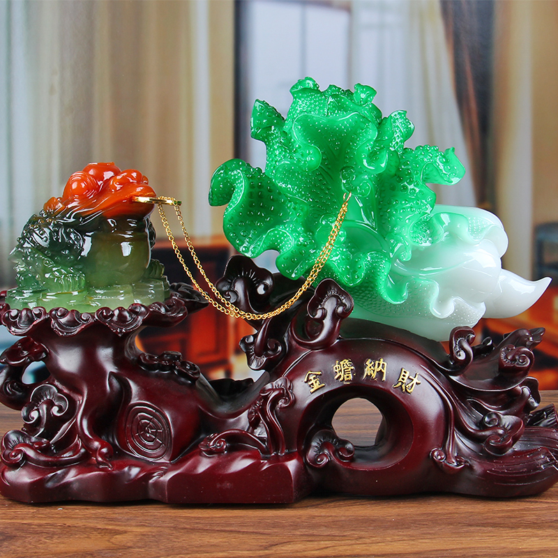 Lucky Toad Decoration Jade Cabbage Large Cicada Crafts Cashier Office Desk  Furnishings Opening Gifts