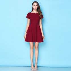 Wine red dress small red dress 2020 spring and autumn summer is thin a-line short Hepburn temperament black skirt dress