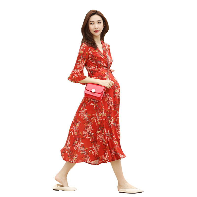 febaff116e83c Fashion maternity tide mom spring out lactating retro color slim Palace red pregnant  women dress · Zoom · lightbox moreview · lightbox moreview ...