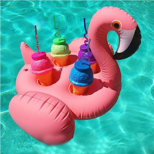 Inflatable Flamingo Floating Cup Holder Coke Beer Drink Cup Sitting On  Mobile Phone Seat Swimming Pool Toy Props
