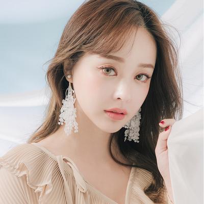 天天特价韩版气质简约珍珠蕾丝长款耳钉耳夹无耳洞女夹式耳环075