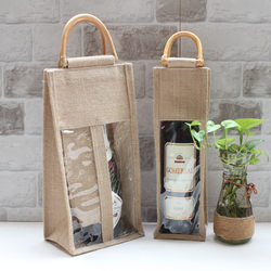 Universal red wine burlap bag, rattan handle tote bag, single, double-pack, eco-friendly shopping gift bag, front sack