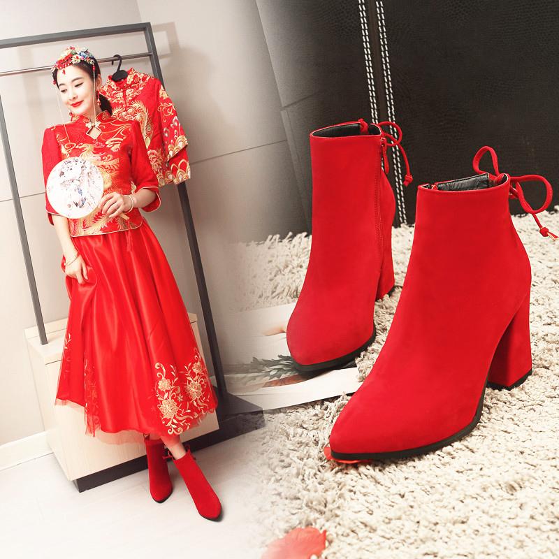 红色短靴女马丁靴女英伦风短靴2018新款秋冬尖头粗跟婚鞋新娘鞋靴