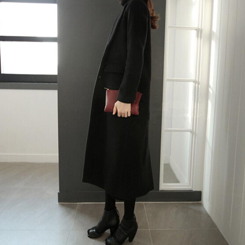 2018冬装新款韩版羊绒大衣女超长款大码黑色呢大衣显瘦毛呢外套女