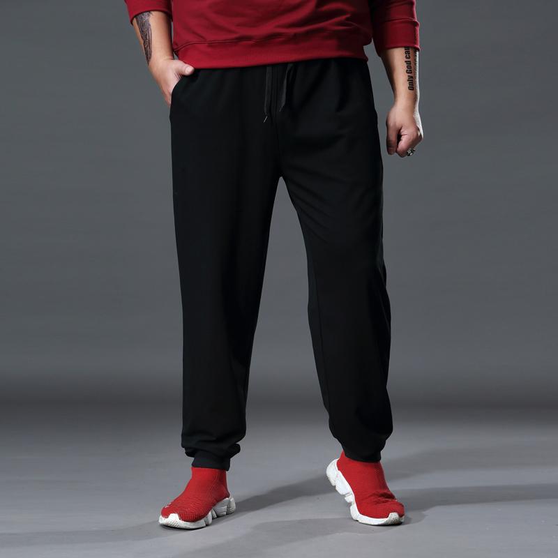 休闲裤男宽松夏大码运动长裤子薄款束脚加肥加大潮胖肥佬跑步卫裤