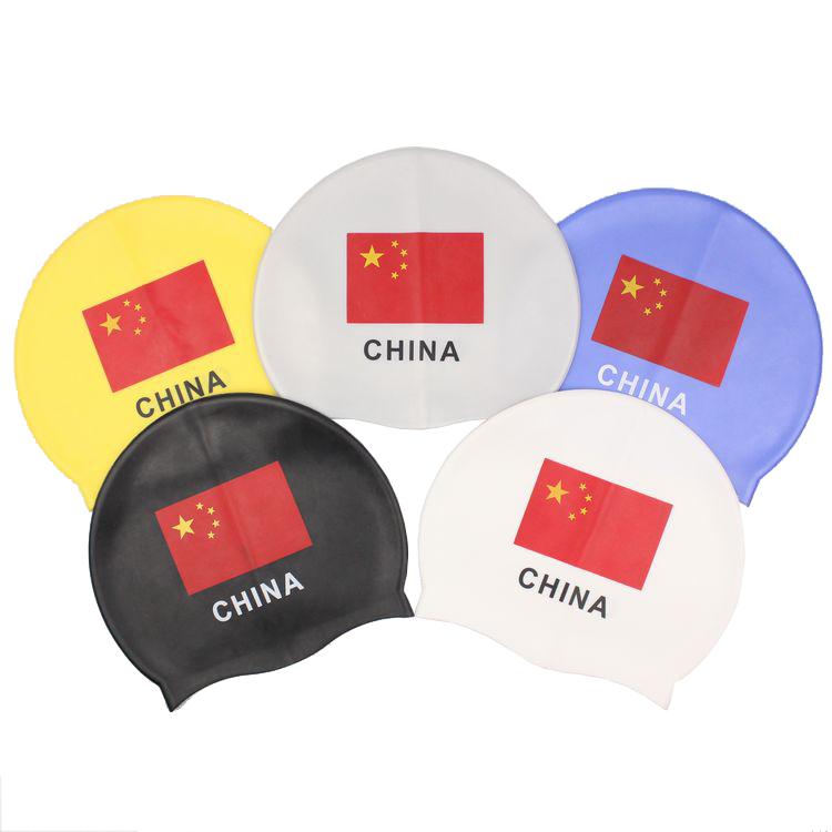 Mũ bơi silicon chất lượng cao Trung Quốc nhỏ quốc kỳ mũ bơi Mũ bơi unisex Tóc dài không thấm nước màu in