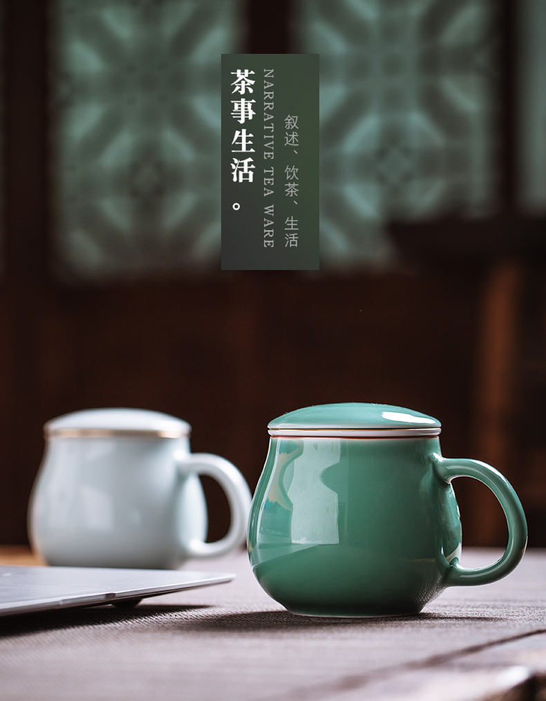 Jingdezhen ceramic filter cups with cover keller cup office with personal custom water cup tea cup