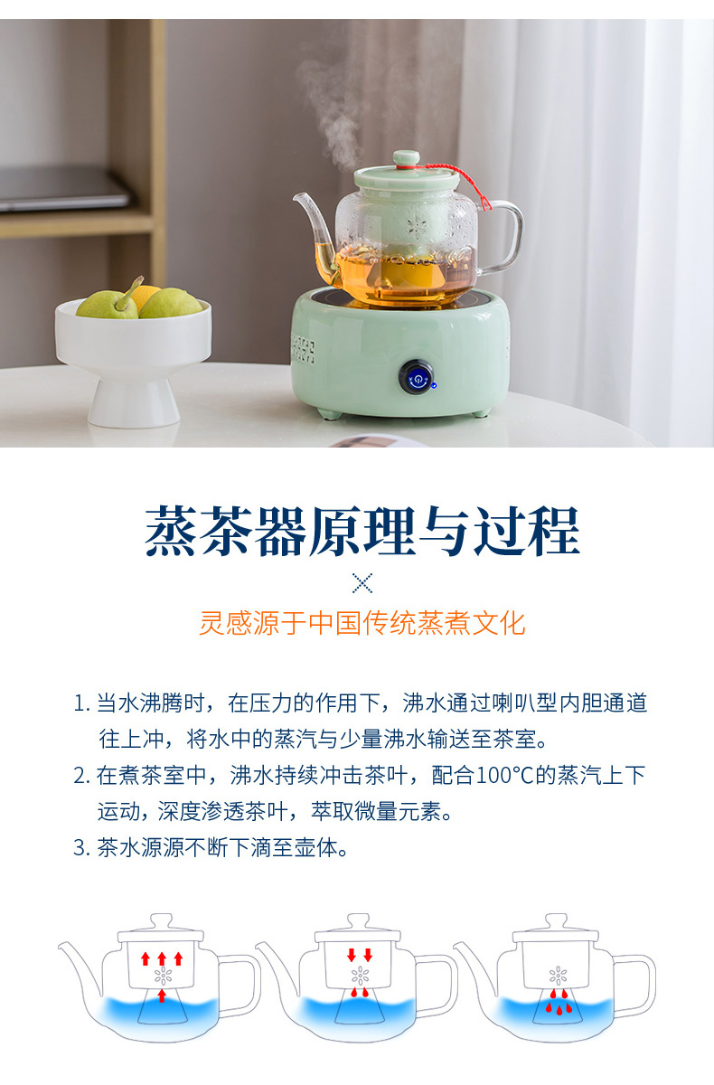 Steaming kettle high - temperature thickening filter glass teapot heat - resistant kung fu tea boiled tea machine electricity TaoLu suits for