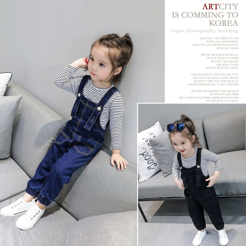 Korean version of girls fashion strappy pants 2018 autumn new baby girl casual small fresh jeans a hundred 1782