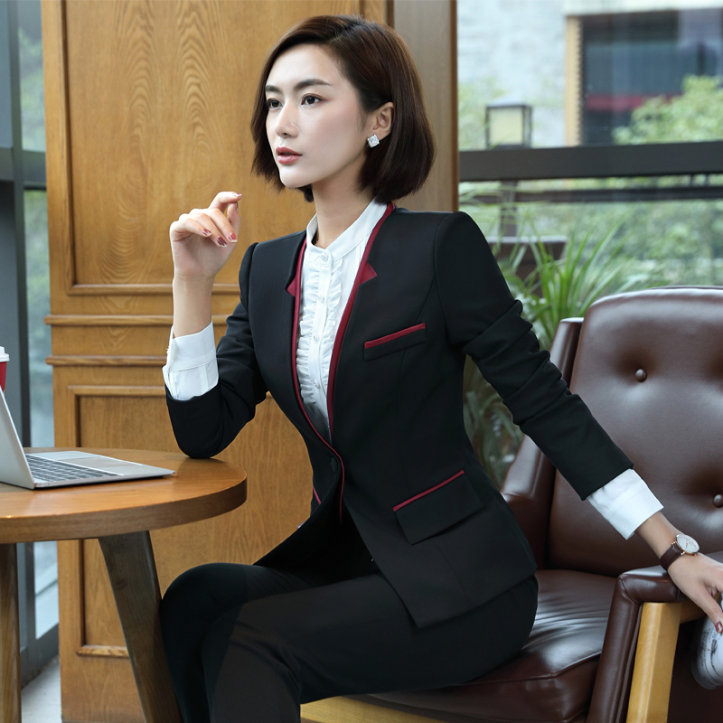 Hotel front desk cashier set autumn female Foreman beautician reception interview lobby manager overalls long-sleeved female