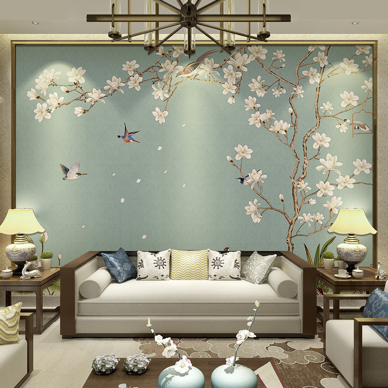 New Chinese Wallpaper TV Background Wall Paper Flower Bird Wallpaper  Bedroom Living Room 3d Seamless Wall Cloth Film Wall Painting