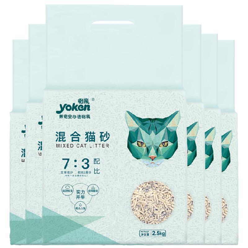 怡亲矿土2mm豌豆纤维豆腐混合猫砂6L