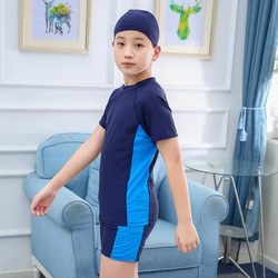 Children's swimsuit boys fat split middle-aged children adolescents plus size 6-15 years old student swimming trunks suit sunscreen