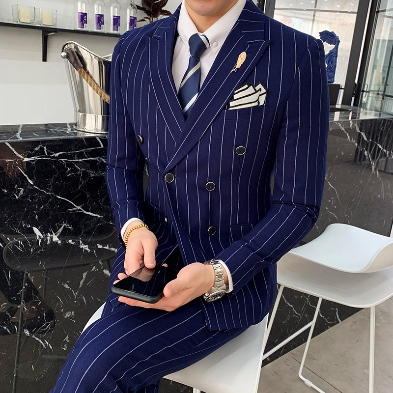 8fa2957726 Trend Korean version of self-cultivation temperament striped  double-breasted suit suit male hair stylist groom wedding ...