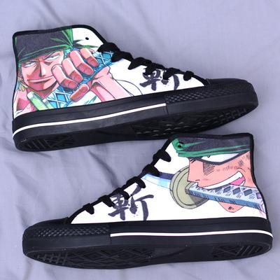 定制海贼王鞋子男士涂鸦帆布鞋索隆布鞋中帮休闲动漫板鞋学生潮鞋