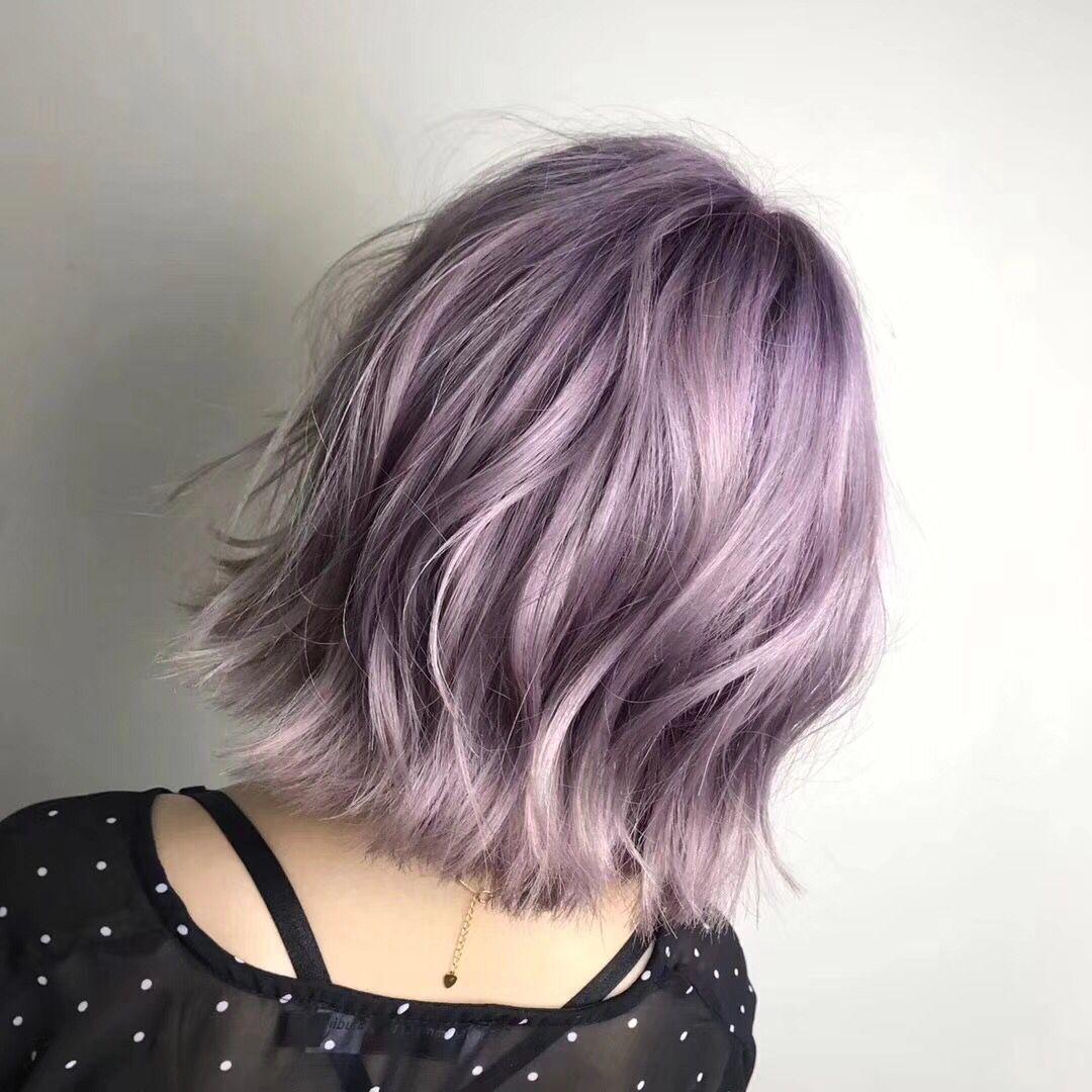 薄藤色樱花粉渐变染发膏淡紫浅紫色头发指甲油酸性色彩打蜡染发剂图片