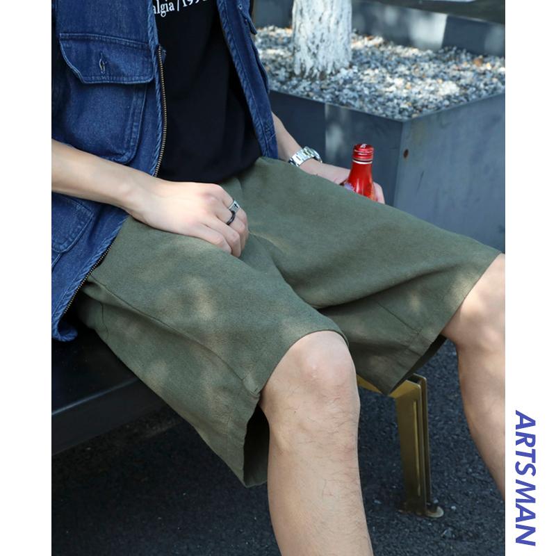@港仔文艺男男裤夏天宽松休闲裤潮牌五分裤薄款裤子直筒工装短裤