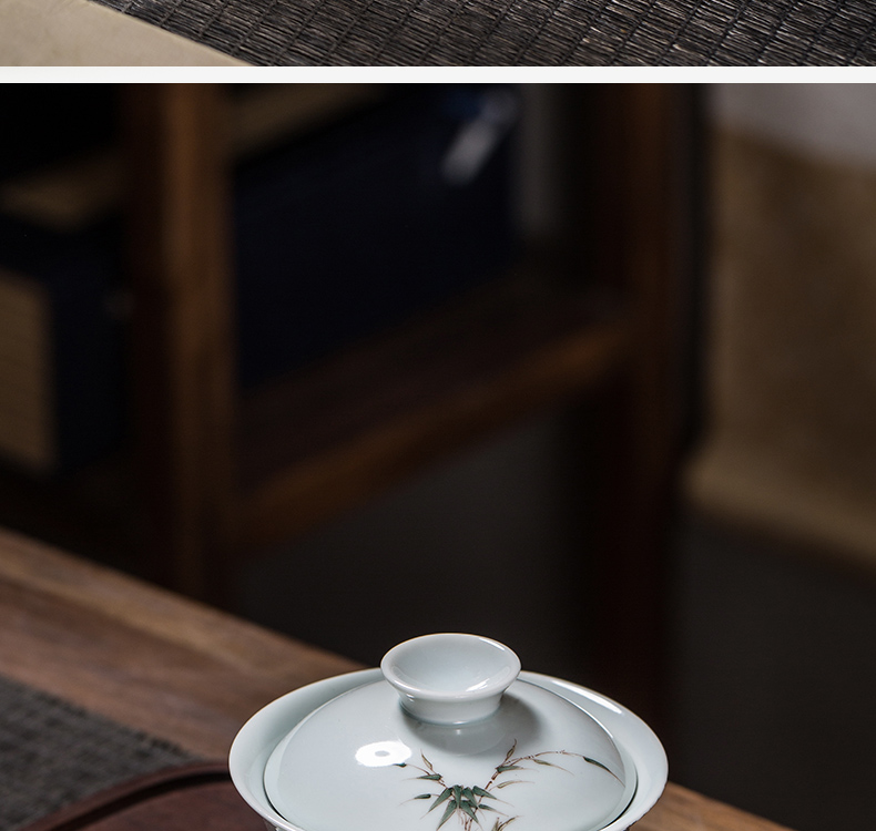 【 5.3 】 jingdezhen pure manual hand - made glaze color bamboo three tureen