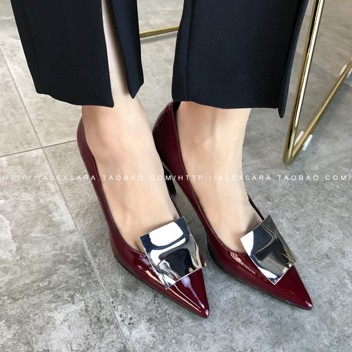74b55a0c36 ALEX SARA 2019 spring and summer new leather sexy pointed single shoes  metal shallow mouth patent leather high heels