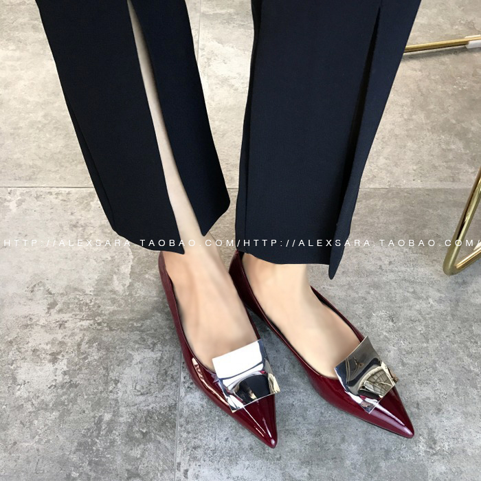 31e61f4c11 ALEXSARA2019 new wine red leather pointed patent leather flat shoes shallow  mouth retro wild single shoes female summer