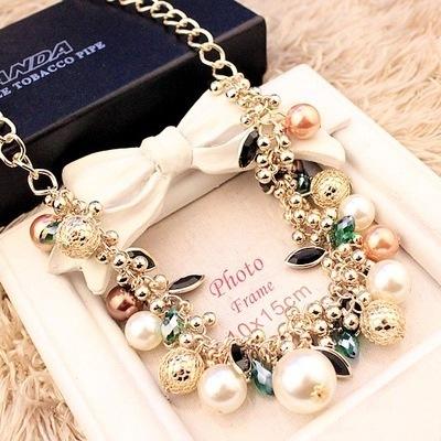 彩色宝石珍珠水晶项链韩版夸张锁骨链 饰品项链女配饰项链