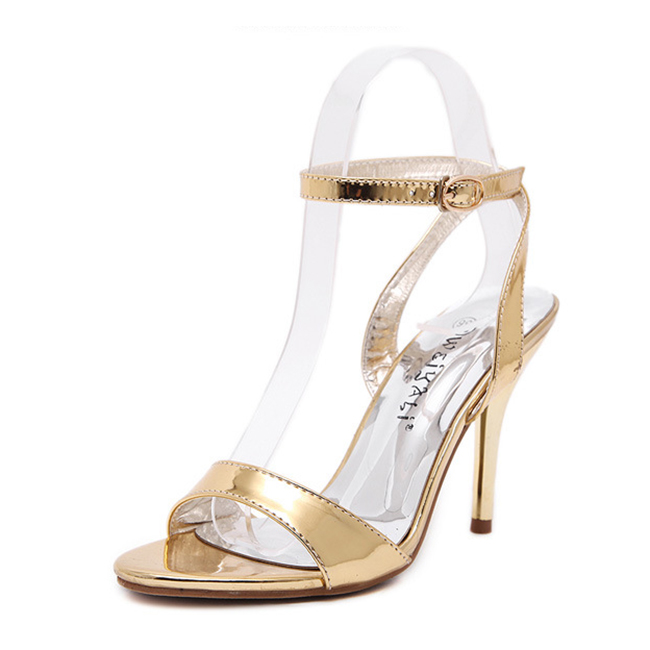 Gold mirror leather sandals's main photo