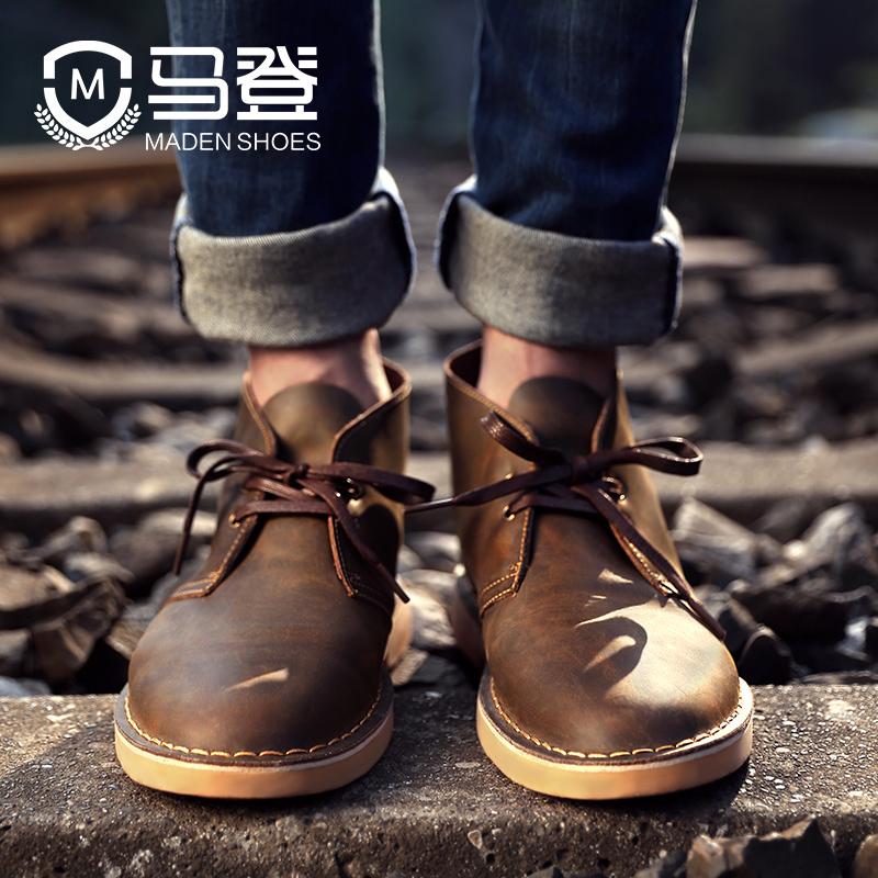 马丁靴男夏季短靴英伦风高帮男士沙漠靴真皮百搭中帮男鞋潮男靴子