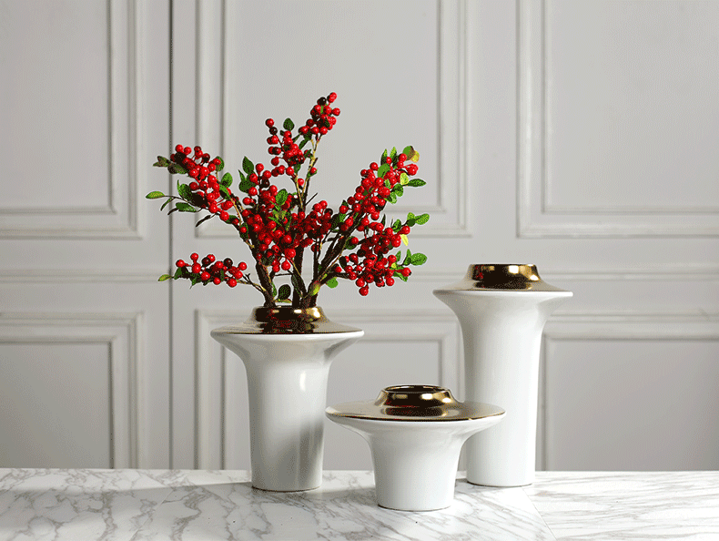 Creative I and contracted light flower arranging exchanger with the ceramics vase key-2 luxury furnishing articles sitting room ark example room Nordic soft decoration