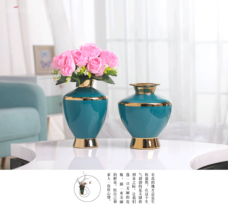 Light European - style key-2 luxury golden vase furnishing articles of jingdezhen ceramic creative modern fashion TV ark, sitting room dry flower receptacle
