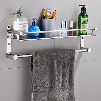 Punch-free toilet rack 304 stainless steel bathroom shower room rack towel rack toilet towel rack
