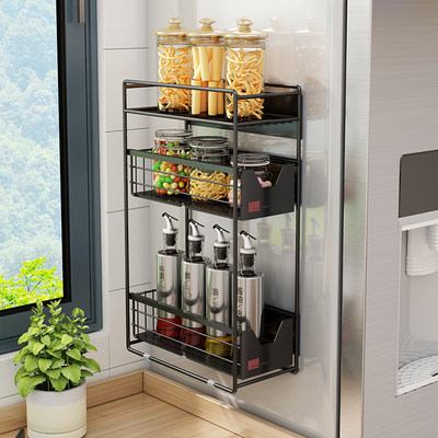 Kitchen magnet refrigerator shelf side storage rack household multi-layer flap pull pull water tank seasoning rack