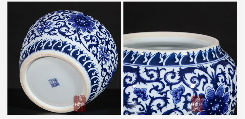 Antique hand - made of blue and white porcelain of jingdezhen ceramics cover pot of new Chinese style living room porch rich ancient frame caddy fixings furnishing articles