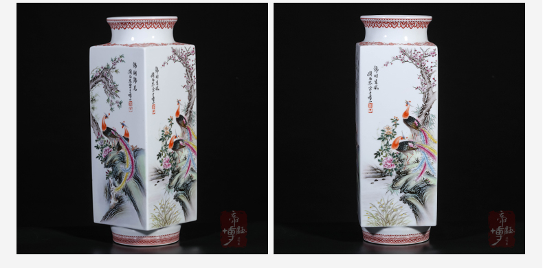 Jingdezhen ceramic powder enamel hand - made flowers and birds of the republic of China with Chinese style sitting room porch study rich ancient frame decorative furnishing articles
