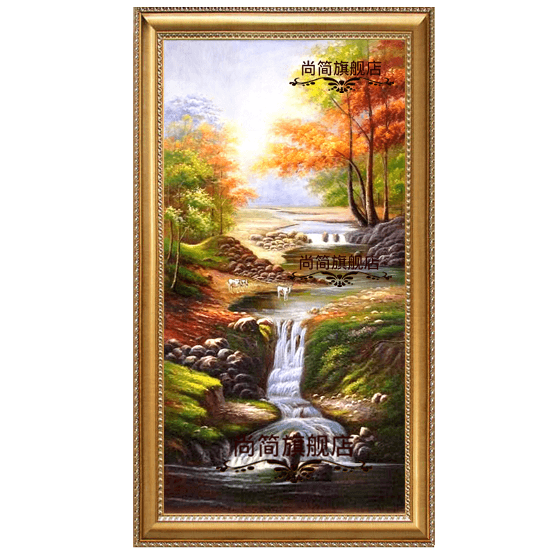 Oil Painting Hand Painted European Style Entrance Decorative Painting  American Landscape Painting Living Room Vertical Version Corridor Aisle  Paintings