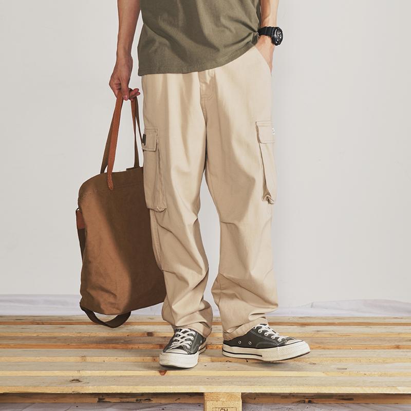 Quần yếm nhiều túi nam thương hiệu thẳng Nhật Bản Yu Wenle quần kiểu Hồng Kông quần nam thời trang hoang dã lỏng lẻo - Quần mỏng