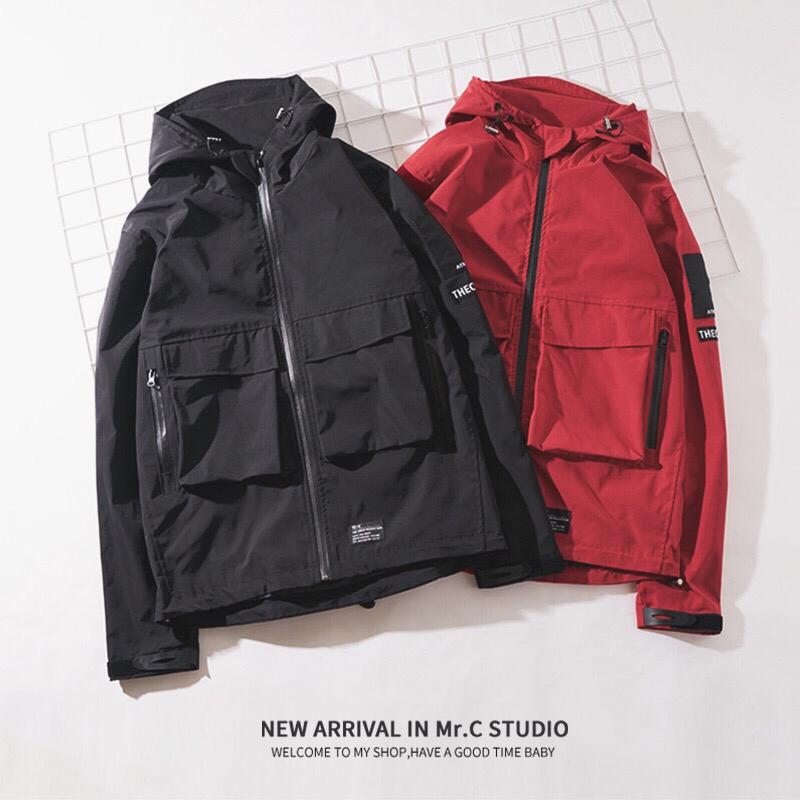 Xu hướng Nhật Bản áo gió nam mùa xuân và mùa thu phần mỏng Nhật Bản áo gió nam triều thương hiệu trùm đầu dụng cụ cổng gió áo khoác nam