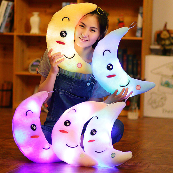 梦幻创意七彩发光抱枕公仔毛绒玩具月亮夜光布娃娃生日礼物送女生