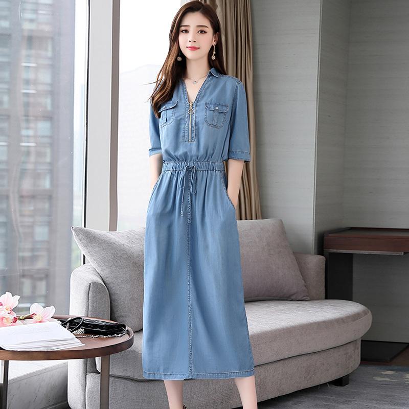休闲牛仔连衣裙2019夏季新款女装韩版时尚气质女人味流行夏天裙子