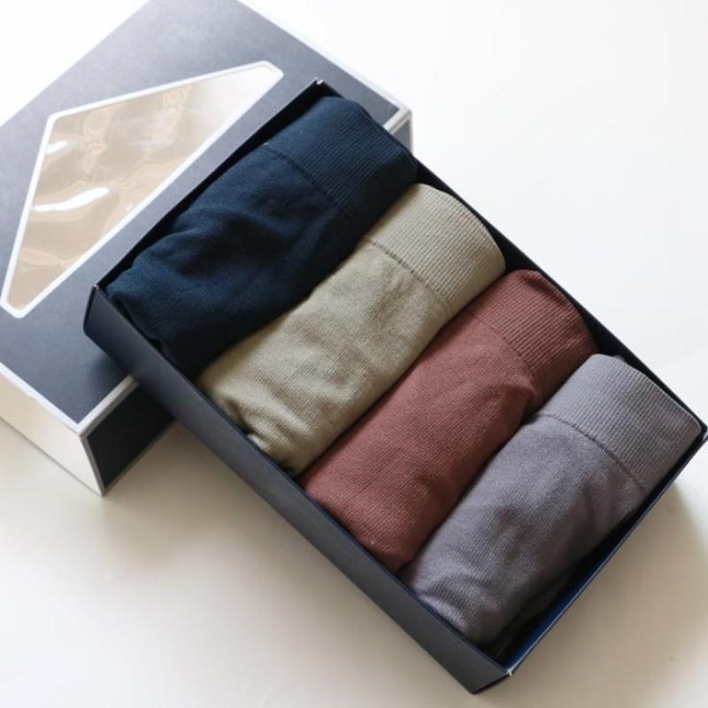 第二件30男士内裤男条纹无痕四角裤4条装夏季简约薄款透气平角裤j