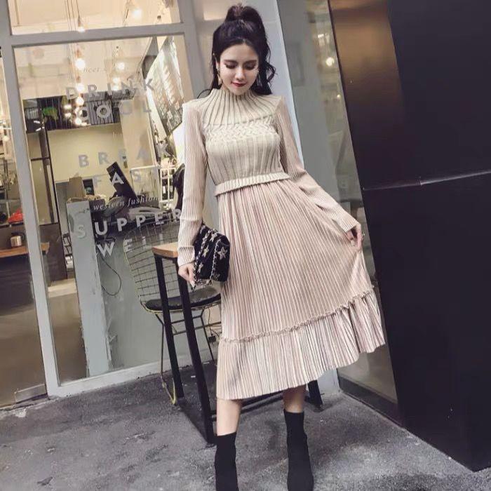 长袖针织时尚修身裙2019秋冬季新款韩版气质毛衣拼接假两件连衣裙