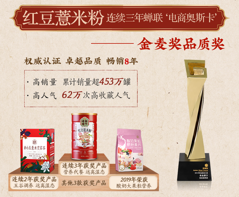 金麦奖获奖款 老金磨方 熟冲红豆薏米粉 祛湿健脾 600g 图9