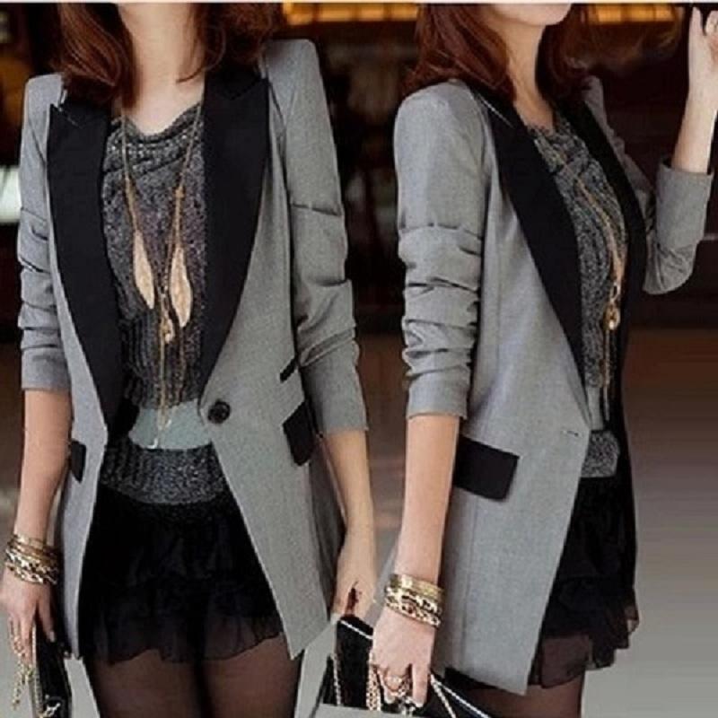小西装女外套2020春季新品韩版修身中长款一粒扣西服休闲百搭长袖