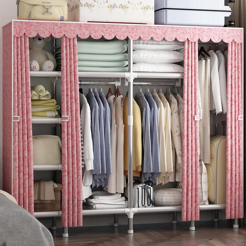 衣柜钢管加粗加厚加固简易组装布衣柜收纳布艺衣橱子双人大号容量