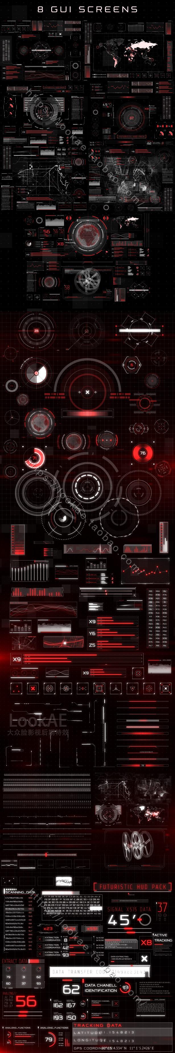 第七季 AE模板-187种HUD高科技信息化动态UI元素包插图1