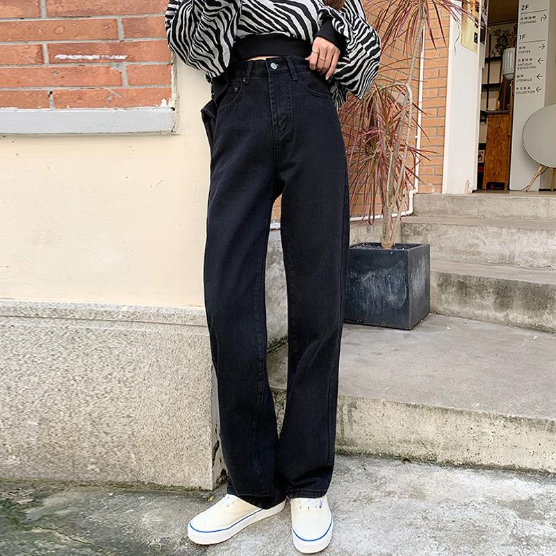 秋季2020新款高腰黑色牛仔裤女秋冬裤子显瘦显高直筒裤长裤ins潮