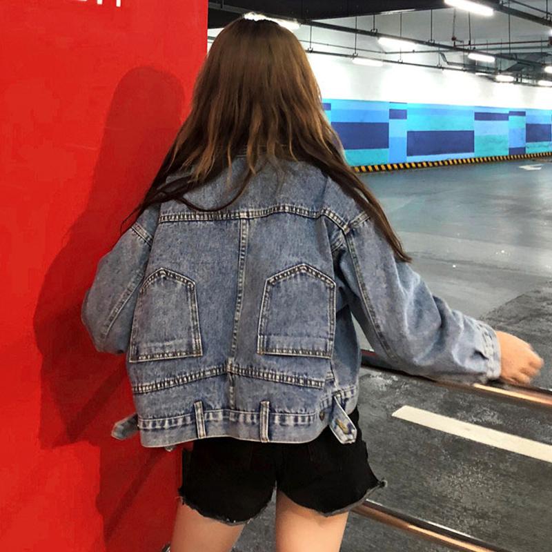 Осень 2018 новая коллекция корейская версия Шикарный ранний верх Одежда ленивый стиль Хараджуку длинный рукав рыхлый короткий джинсовый куртка женщина