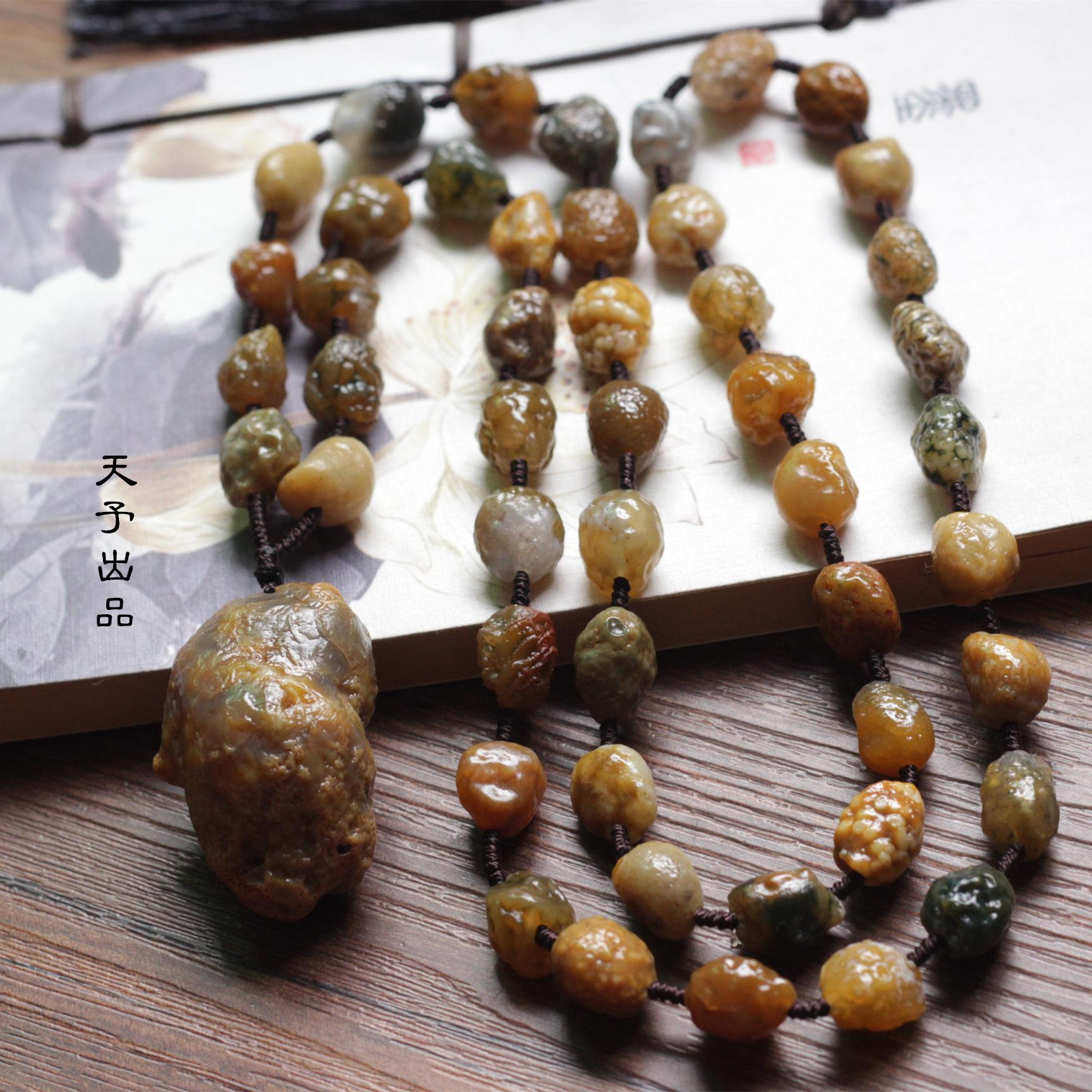 阿拉善玛瑙原石项链毛衣链 经脉石玛瑙原石毛衣链 天然原石戈壁石