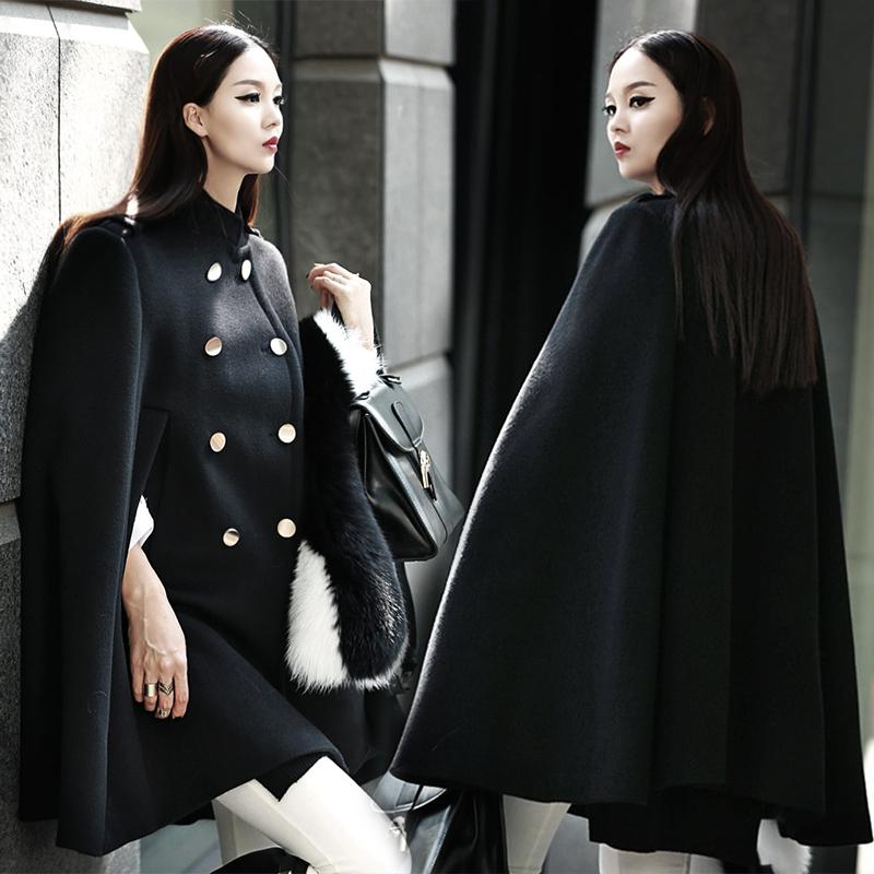 韓版毛呢斗篷外套女披肩中長款寬松加厚呢子羊絨大衣2016秋冬新款圖片